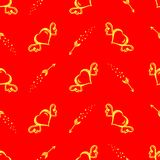 Vector seamless pattern with hand drawn hearts with wings and flying arrows. St.Valentine s day background Stock Photography