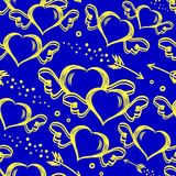 Vector seamless pattern with hand drawn hearts with wings and flying arrows. St.Valentine s day background Royalty Free Stock Photo