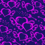 Vector seamless pattern with hand drawn hearts with wings and flying arrows. St.Valentine s day background. Vector seamless stylish pattern with hand drawn vector illustration