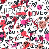 Vector seamless pattern with hand drawn hearts and word love. Black and white sketched ink icons and watercolor stains royalty free illustration