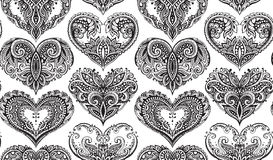 Vector seamless pattern with hand drawn hearts in zentangle style. stock illustration