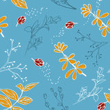 Vector seamless pattern with hand drawn herbs. Colorful background, textile design Stock Photo