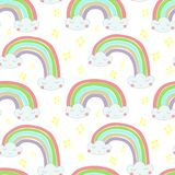 Vector seamless pattern Hand drawn illustration of a rainbow out of the clouds stock illustration