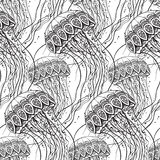 Vector seamless pattern with Hand drawn jellyfish Stock Image
