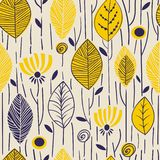 Vector seamless pattern with hand drawn leaves. Trendy scandinavian design concept for fashion textile print. Nature. Vector seamless pattern with hand drawn stock illustration