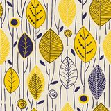 Vector seamless pattern with hand drawn leaves. Trendy scandinavian design concept for fashion textile print. Nature. Vector seamless pattern with hand drawn royalty free illustration