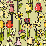 Vector seamless pattern of hand drawn line art flower. Stock Photography