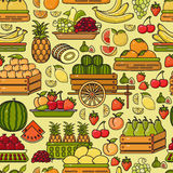 Vector seamless pattern of hand drawn line art fruit icon. Royalty Free Stock Photography