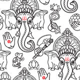 Vector seamless pattern of hand drawn line art Ganesha. Vector seamless pattern of hand drawn line art Ganesha  icon on white background. Ganesh vector Royalty Free Stock Photography