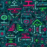 Vector seamless pattern with hand drawn neon color ornament maya Stock Photography