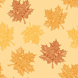 Vector seamless pattern with hand drawn orange doodle maple leaves illustrations. Autumn decorative oak background Royalty Free Stock Photography