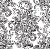 Vector seamless pattern with hand drawn ornate flowers Royalty Free Stock Image