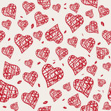 Vector seamless pattern with hand drawn red hearts Stock Photos