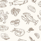 Vector seamless pattern with hand drawn seafood illustration - fresh fish, lobster, crab, oyster, mussel, squid and. Spice sketch. Vintage menu template Royalty Free Stock Photography