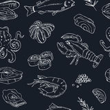 Vector seamless pattern with hand drawn seafood illustration - fresh fish, lobster, crab, oyster, mussel, squid and Stock Photos
