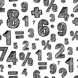 Vector seamless pattern with hand drawn sketch numbers. Royalty Free Stock Image