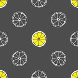 Vector seamless pattern with hand drawn slices of lemon. Grey background and yellow limon. Fabric texture. Vector seamless pattern with hand drawn slices of Stock Images