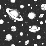 Vector eps10 seamless pattern with space illustrations. Royalty Free Stock Image