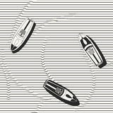 Vector seamless pattern. Hand drawn speedboats in the sea - monochrome repeating background for fabric, wallpapers and prints. Royalty Free Stock Image