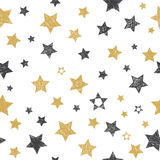 Vector seamless pattern with hand drawn stars. Vector illustration Stock Photo