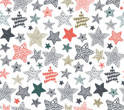 Vector seamless pattern with hand drawn stars. On white background. Holiday Christmas or Birthday endless background in graphic doodle style for prints, cards vector illustration