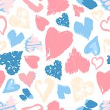 Vector seamless pattern with hand drawn stylish grunge hearts. P. Astel light modern colors Royalty Free Illustration