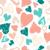 Vector seamless pattern with hand drawn stylish grunge hearts. P. Astel light modern colors Vector Illustration
