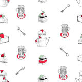 Vector seamless pattern with hand drawn tea and coffee and dessert illustrations. Can be use for bakery, pastry, cafe Stock Images