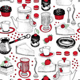 Vector seamless pattern with hand drawn tea and coffee and dessert illustrations. Can be use for bakery, pastry, cafe Royalty Free Stock Photography