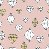 Vector seamless pattern with hand drawn watercolor diamond cryst Royalty Free Stock Image