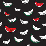 Vector seamless pattern with hand drawn watermelon.. Background in black and white, red, green colors. Textile design Royalty Free Stock Image