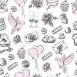 Vector seamless pattern with hand drawn wedding elements on white Stock Photography