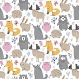 Vector seamless pattern with hand drawn wild forest animals, stock illustration