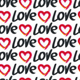 Vector seamless pattern, hand drawn word love and red heart Stock Photography