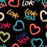 Vector seamless pattern with hand drawn words love you and multi Royalty Free Stock Photos