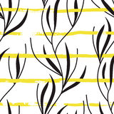 Vector seamless pattern with hand drawn yellow stripes and plants Stock Photos