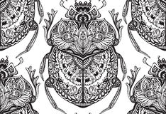 Vector seamless pattern with hand drawn zentangle scarabs Stock Photos