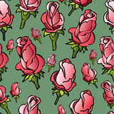 Vector seamless pattern with  hand-sketched  roses Royalty Free Stock Photos