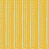 Vector seamless pattern with handdrawn stripes and triangles . Hand drawn blue stripes and triangles on yellow background stock illustration