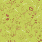 Vector seamless pattern. Handwriting flowers Royalty Free Stock Photos