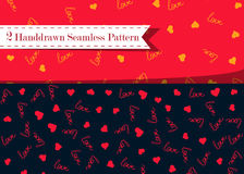 Vector seamless pattern with handwritten Love word and hearts. Romantic design, perfect for Valentine s day prints and Royalty Free Stock Image