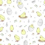 Vector seamless pattern with hatching chicks vector illustration