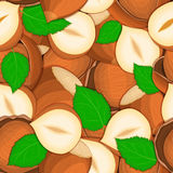 Vector seamless pattern hazelnut nut. Vector card illustration. Closely spaced peeled walnut nuts and in shell leaves. it can be used as packaging design Royalty Free Stock Photos