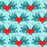 Vector seamless pattern with heart and blood Royalty Free Stock Image