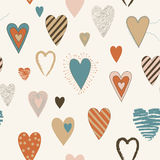Vector Seamless Pattern with Heart Shapes Stock Illustration