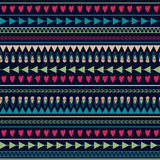 Vector seamless pattern with hearts, lines, arrows Royalty Free Stock Images