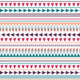 Vector seamless pattern with hearts, lines, arrows Stock Image