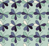 Vector seamless pattern with hearts placed in clover shapes. Flat shamrock imagined colors background. Simple repeating Royalty Free Stock Photo