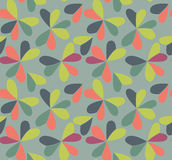 Vector seamless pattern with hearts placed in clover shapes. Flat shamrock imagined colors background. Simple repeating Stock Images