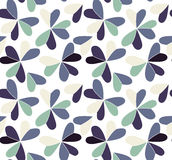 Vector seamless pattern with hearts placed in clover shapes. Flat shamrock imagined colors background. Simple repeating Royalty Free Stock Photos